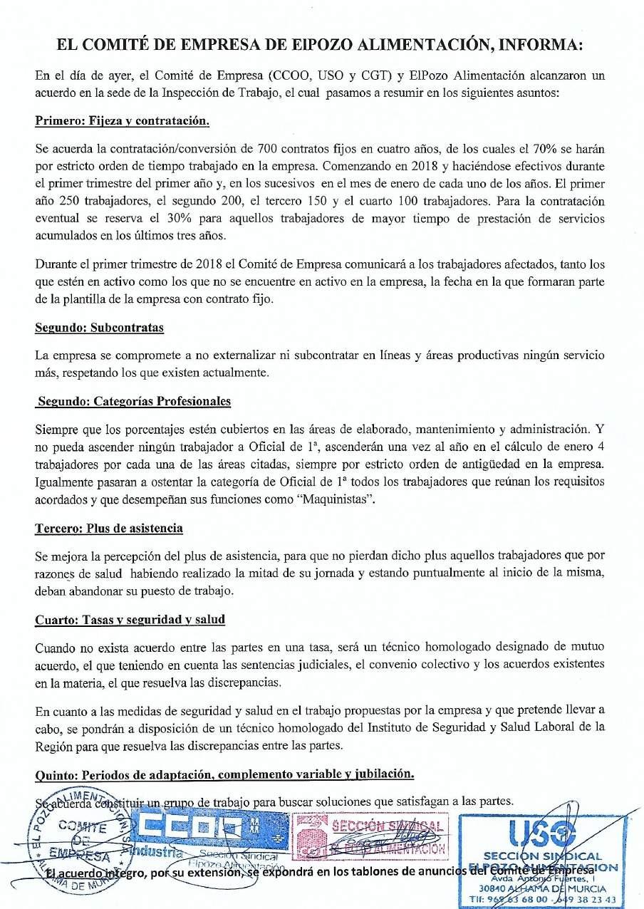 Acuerdos Comité-Empresa « Uso El Pozo